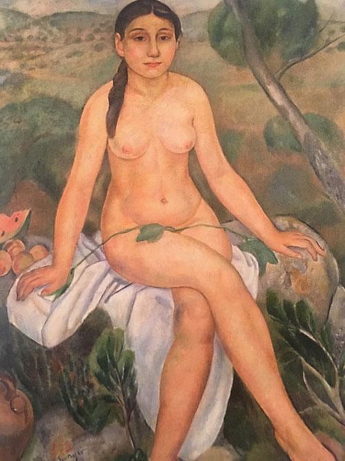 Joaquin Sunyer.Desnudo 1919-20.Óleo sobre lienzo.126x96cm.Colección particular. De marcado carácter clasicista con tratamiento de volúmenes  y masa escultórica.