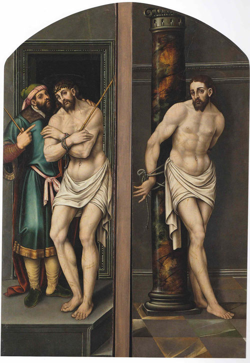 """En el interior del tríptico Llorens pintó al Ecce Homo presentado por Pilatos.A la derecha Cristo atado a la columna""""Agujerearon mis manos y mis pies""""Profecía de Ezequiel..""""y mira como te echaran las cuerdas""""""""Con todo, eran nuestros sufrimientos.""""Isaias"""