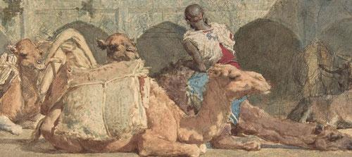 Camellos en reposo,1865.lápiz y acuarela sobre papel,20x37cm.Metropolitan Museum of Art,Nueva York. Encuadra un patio interior donde unos camellos desprovistos de su carga descansan.