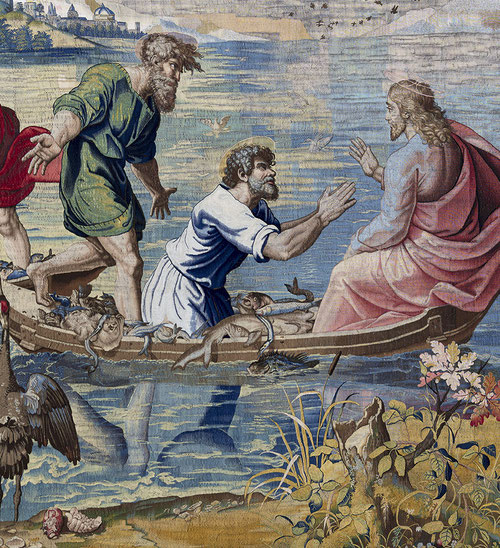 """Por la composición, la luminosidad de sus horizontes """"La pesca milagrosa"""", con sus aves acuáticas y por la monumentalidad de las figuras de empaque clásico, estos episodios se encuentran entre los más hermosos del clasicismo cristiano."""