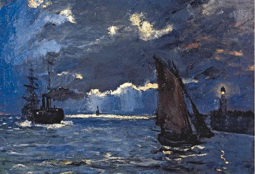 Claude Monet.Marina, embarcaciones en un claro de luna,1864.Óleo sobre lienzo,60x73cm.Natinal Galleries of Scotland,Edimburgo. Formados ambos en la escuela de Barbizon y la costa normanda,Monet dedicó al género mucha atención.Audacia  en azules y grises.