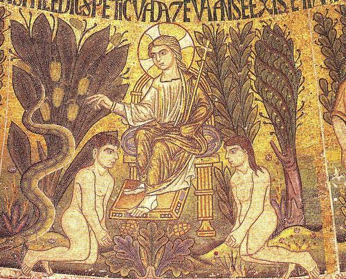En el arte paleocristiano el árbol está representadoi a menudo en escenas que aluden al paraíso, en forma de palma estilizada. Mosaico de San Marcos de Venecia