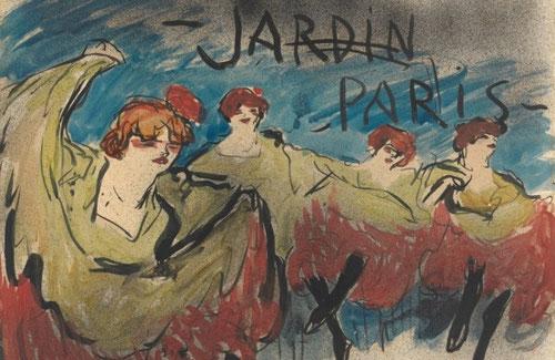 Pablo Picasso.Jardín de Paris,diseño para cartel 1901.Tinta y acuarela sobre papel,64x49cm.Metropolitan Museum Nueva York. Retratos de la vida moderna parisina.