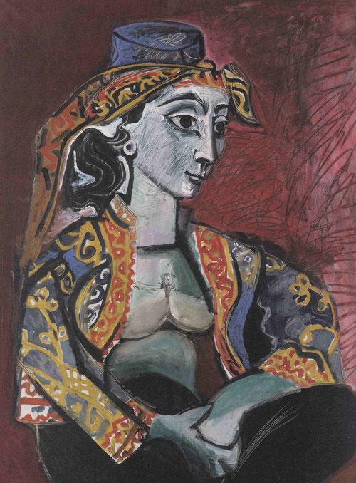 Jacqueline con vestido turco,Cannes 1955.Óleo sobre lienzo,100x81cm.Colección particular.