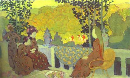 Maurice Denis, Septembre.1891.Óleo sobre lienzo.38x61cm. Meditaciones silenciosas, mujeres sumidas en armonía de colores con clara influencia japonesa...esta es la moderna sensibilidad cotidiana impresionista...manchas que renuevan la escena
