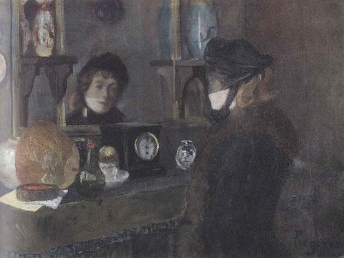 Darío de Regoyos. Retrato de  Miss Jeanning,1885.Óleo sobre lienzo.65x85cm.Museo de Bellas Artes de Bilbao.