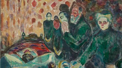 Agonía 1915.Los gruesos empastes simboliza la materialidad de la carne.Técnica abocetada de grandes y expresivas manchas de color,Munch representa la experiencia de la muerte,metáfora del último aliento de vida,los rostros-máscaras  velan el cadáver .