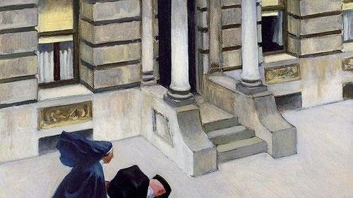 Hopper, Pavimentos de Nueva York, 1924, óleo sobre lienzo, 62x75cm, Crisler Museum of Art, Norfolk.Donación de W.Crisler