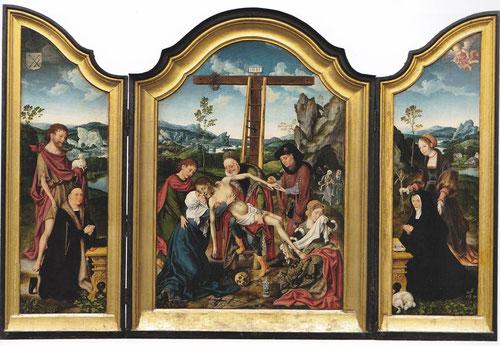 Trípticos destinados a satisfacer a una clientela de clase media que quería para sus viviendas piezas de carácter devocional. Jon Van Cleeve, Tríptico del Descendimiento.1520