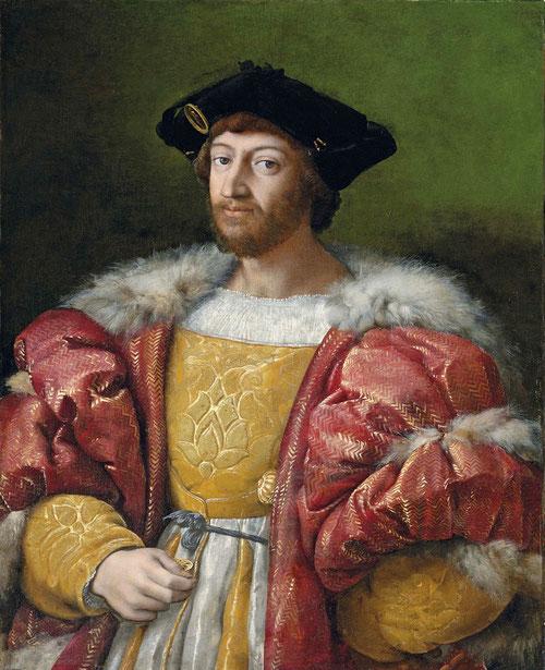 Rafael. Lorenzo de Médicis, duque de Urbino 1518. Óleo sobre lienzo.97x79cm.Colección particular. Ejecutado con rapidez, regalo de esponsales para una prima de Francisco I, cuyo enlace matrimonial con Lorenzo se negociaba.