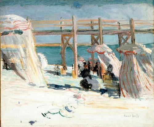 Raoul Dufy, L´Estacade à Sainte Addresse 1902. Colorista por temperamento, perpetró en sus paisajes con habilidad y fantasía la tradición impresionista, provocando en el público una explosión de colores y pensamientos...