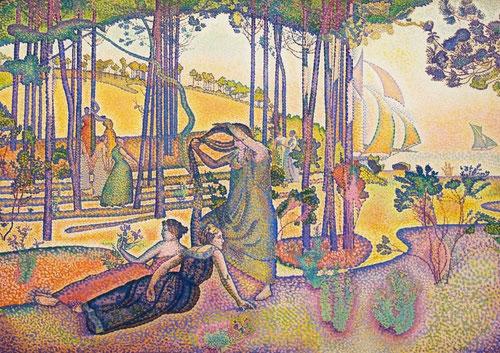 Edmond Cross,L´air du soir.1893.116x116cm.Evoca el magnetismo y la felicidad del paisaje arcádico de Cannes,espacio salvaje domesticado por ninfas..es el deseo de la mujer.