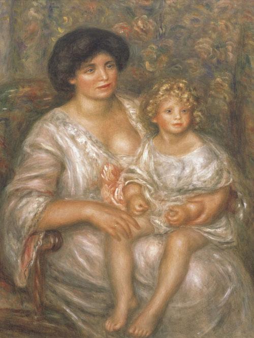 La Sra. Thurneyssen y su hija 1910.Óleo sobre lienzo.100x81cm.Búffalo Nueva York.Su emoción ante el cuerpo femenino merece un psicoanálisis,tal vez estaba ligado a la idea de la maternidad. Esto hacía deslumbrar la firmeza de sus encantos.