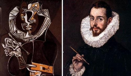 """PICASSO realizó la aproximación mas cercana a una obra del Greco """"Retrato de un pintor según el Greco"""" en 1950 (Óleo contrachapado en Lucerna) acentuando los tonos oscuros,color español por excelencia,, con su capacidad magistral como dibujante."""