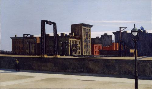 Hopper. El Loop del Puente Manhattan, 1928. Óleo sobre lienzo, 88x152cm Addison Gallery of American.