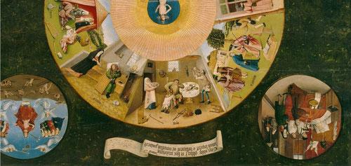 """Detalle del ojo de Dios, Cave cave Dominus Videt (Cuidado, cuidado que Dios te está mirando) Rodeados por los 7 pecados capitales: Ira,Soberbia,Lujuria,Pereza,Gula,Avaricia y Envidia.Abajo el texto en latín del versículo 32 del Deuteronomio""""Yo esconderé.."""