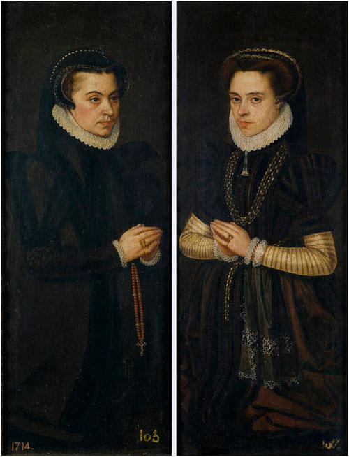 Antonio Moro,Margarita de Parma y María de Portugal, esposa de Alejandro Farnesio, despues de 1565.Óleo sobre tabla.Colección Real.Portezuelas de un díptico.