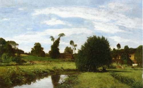 Eugène Boudin.Paisaje normando 1857.Óleo sobre tabla.34x57cm.Maunumá Art Park,Asaka.
