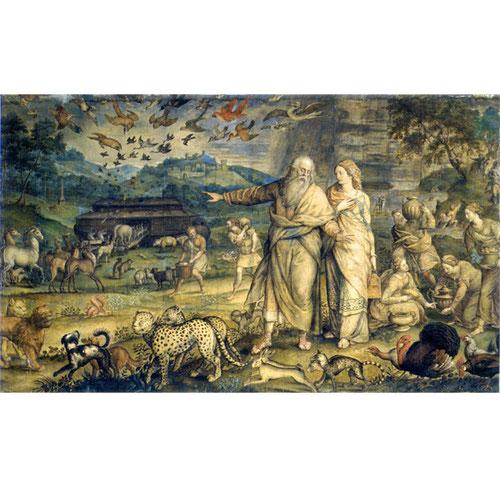 Michiel Coxcie, Embarque en el Arca de Noé,1555.Cartón para tapiz, temple y acuarela sobre cartón pegado a lienzo..Palacio Real de Madrid