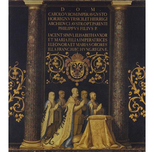 Juan Pantoja de la Cruz, grupo orante de Carlos V y su familia, 1599.Óleo sobre lienzo.180x164cm.Patrimonio Nacional.Monasterio de San Lorenzo de El Escorial, Madrid.