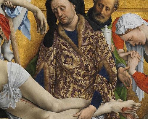 Tras José de Arimatea, el hombre de verde, junto a Magdalena, sostiene el tarro de perfume de nardos, su atributo, con el que ella ungió los pies de Jesús.(Juan 12,3)
