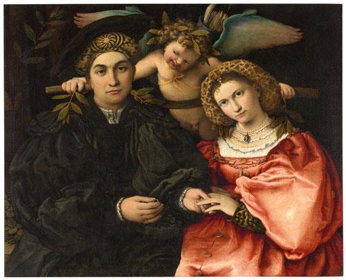 Micer Marsilio Cassotti y su esposa Faustina..Óleo 71x84cm.M.Prado 1523.Este retrato matrimonial singular celebrado en Bérgamo, en el que Marsilio se dispone a introducir la alianza a Faustina,rico en simbología,acompañado de cupido con yugo y laurel.