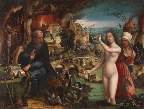 Pieter Coecke van Aelst.Las tentaciones de San antonio, hacia 1540.41x53cm.Colección Real.