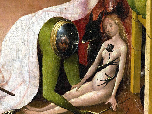 Una visión más del Infierno (Jardín de las Delicias) inquietante,parece escudriñar el demonio a esta mujer somnolienta marcada por un sapo en el pecho.Esta tabla es una de las iconografías más complejas y enigmáticas, aunque muestra unidad de tiempo.