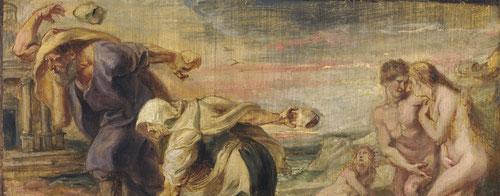 """""""Modelli"""" boceto de Deucalión y Pirra,1636.Óleo sobre tabla.Museo del Prado.Madrid.En 1636 Felipe IV encargó a Rubens que pintara 60 escenas mitológicas para Torre de la Parada a las afueras de Madrid.Los mitos de la Antiguedad estan narrados con belleza"""