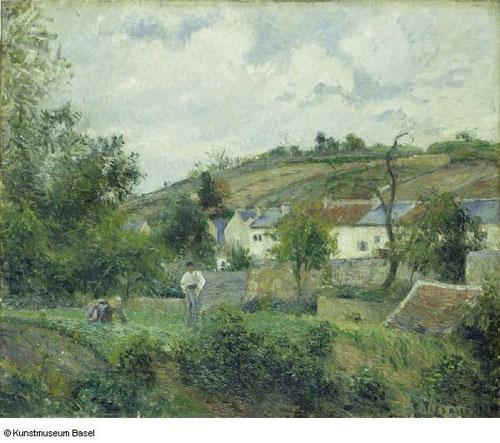 Pisarro(1830-1903), humilde y colosal, como le llamaba su amigo Cézanne, figura fundamental del impresionismo,mostraba el mundo rural como modelo de estilo armonioso.Coloboró con la causa anarquista y una sociedad justa cuyo pilar era la  empresa familiar