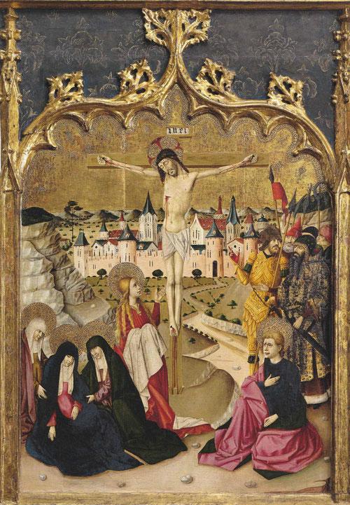 En plena conexión con los modelos flamencos, Joan Reixach, activo en Valencia interpreta este Calvario hacia 1460, que remataba el retablo mayor de la Iglesia de Beneyres.
