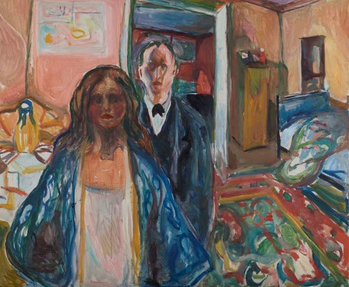 El artista y su modelo,1919-1921.Pertenece a ese periodo de madurez del artista, pinta con libertad.Pinta esa ambigua tensión psicológica que se establece entre el pintor y Annie Fjeldbu.Ambientada en su propio dormitorio,alfombra persa y colcha arrugada