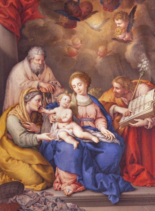 Oratorio concebido para el gabinete del futuro Carlos IV,Príncipe de Asturias, una Sacra Familia portátil que viajaría en todas las jornadas reales.1768