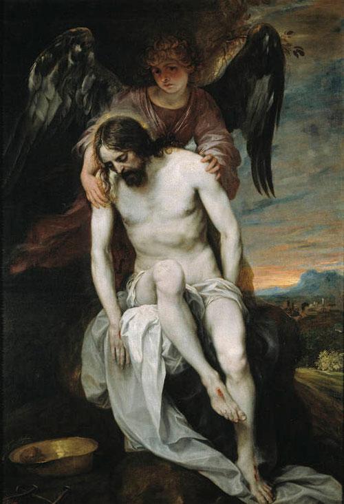 """Alonso Cano(Granada 1601-1667)El Museo del Prado conserva dos versiones """"Cristo muerto sostenido por un ángel. Óleo sobre lienzo,180x120cm...Este Cristo de gran belleza y reminiscencias miguelangelescas,sostenido suavemente por un ángel que mira afligido"""
