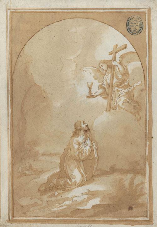 Aguadas generosas y ligeras de Murillo, logran una atmósfera envolvente e íntima, rota por la iluminación de la hoja en blanco. El foco dramático es la cabeza de Jesucristo. Dibujo preparatorio de una obra perdida.