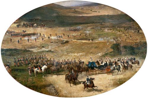 La Reina M.Cristina y su hija Isabel pasando revista a las baterías de artillería que defendían Madrid en 1837.Óleo sobre lienzo,encargado por la propia reina, amenazada por los propios carlistas,para animar a la milicia de Madrid en defender la capital.