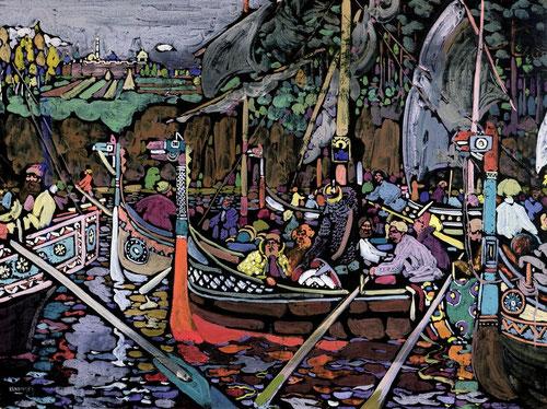 La témpera puesta de moda por los artistas de Jugendstil y art nouveau es pintura al temple cuyo aglutinante es goma arábiga, aceite o huevo,visualmente resulta vistosa.Recoge el folklore ruso,Lied o Canción 1906,profusión de colores con un toque mágico.