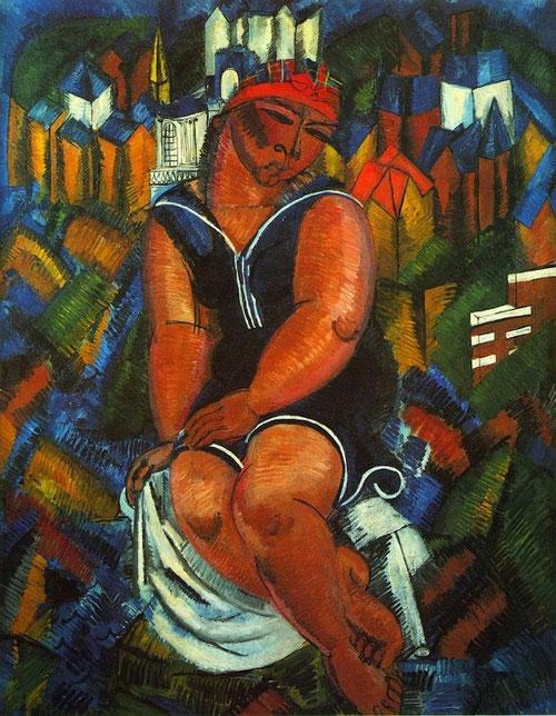 Dufy,como Cézanne,  con su Gran Bañista,1914, introduce lo humano en el centro mismo de la composición, motivo que será recurrente despues en su obr. Lo hace mediante una vuelta al estudio,llena sus cuadernos de bocetos y croquis antes de su obra meditada