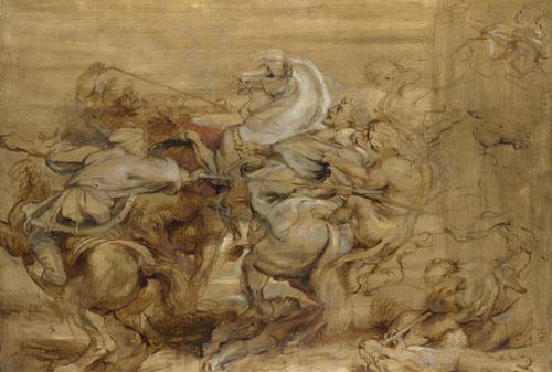 La caza del león 1615. Óleo sobre tabla.National Gallery.Londres. Se midió con Leonardo da Vinci de una copia que poseía en su Batalla de Anghiari.Una lucha entre el hombre en combate con la bestia.Con pincelada rápida supo plasmar las emociones de hombre