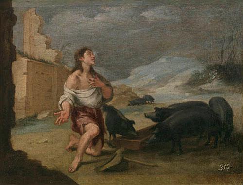 Bartolomé Esteban Murillo.El hijo pródigo abandonado,hacia 1660,27x34cm-Col Real