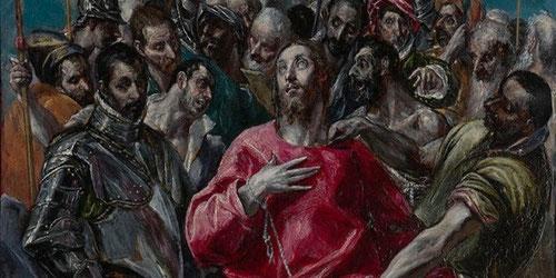 Detalle de intensidad asfixiante en torno a Cristo,galeria de cabezas de brillos acentuados y una sensación tensa y opresiva.Lienzo cargado de simbolismo que celebra la reliquia de la vestidura de Cristo conservada en la Catedral,regalo de Luis de Francia
