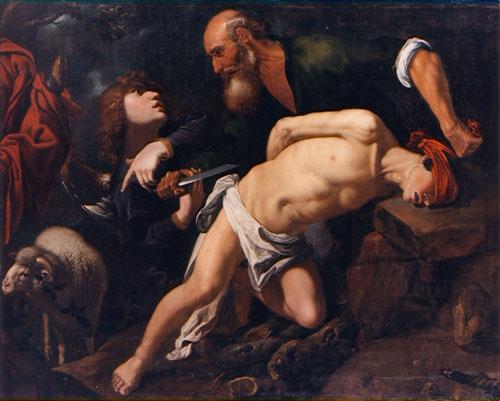 El sacrificio de Isaac,Pedro de Orrente,1616.Dios prueba a Abraham pidiédole que le ofrezca en sacrificio a su unigénito Isaac Gn 22, Abraham dispone el altar pero el ángel irrumpe y detiene la acción,naturalismo narrativo en una escena original. Bilbao.