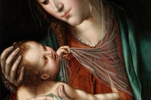 Detalle de La Virgen de la leche,iconografía que se remonta a los iconos marianos de tradición bizantina.Suaves trasparencias y detalles sutiles de quien busca el consuelo materno.