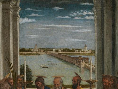 No es de extrañar que Mantegna eligiera este paisaje como protagonista,una muestra más del poder de Mantua y de los Gonzaga:complejo sistema hidraulico anexo al puente con molinos incluidos que regulaba los niveles del agua,a salvo de las inundaciones.