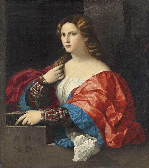 """Palma el Viejo.Retrato de una mujer llamada """"La Bella"""", 1518-20.Óleo sobre lienzo 95x80cm.M. Thyssen Madrid.Nos mira directamente y deja caer su cabell,exhibe amplio escote,una alusión al valor efímero,vanitatis: una noble señora con sus iniciales."""