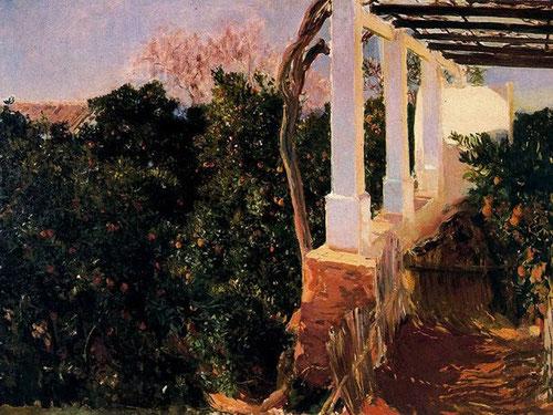 La alqueria de Alcira, donde los verdes naranjos y ocres rojizos de tierras arcillosas del huerto se potencian con la columna blanca de este paisaje valenciano pintado en 1903 y conservado en Dallas
