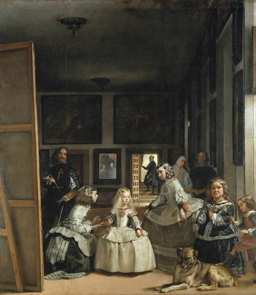Las Meninas es la pintura más conocida del Prado, sin duda la que resume la maestría de Velazquez.La infanta aparece flanqueada por sus dos doncellas,Isabel de Velasco y A Sarmiento, a la izquierda la enana Maribárbola y un mastín con el bufón Nicolasito