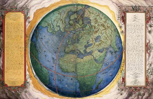 """La obra está dedicada """"al Rey prudente"""" Felipe II de España, al que agradece el pago de la obra y se ofrece para escribir otra sobre el Imperio Turco, advierte que es única por estar hecha a mano.38 mapas de la red hidrográfica, accidentes geográficos."""