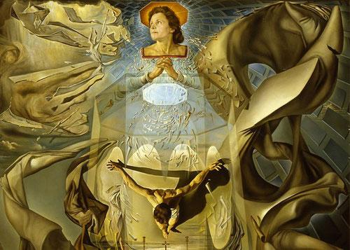 """Dalí, Assumpta corpuscularia lapislazulina 1952.Madona terrenal de Port Lligat, a través de la expresión de belleza renacentista y de las leyes de la"""" divina proporción"""". Detalle de la nueva concepción de materia y de la física nuclear."""