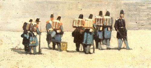 G.Fattori.Soldados franceses de 1859.Òleo sobre tabla,15x32cm.Instituto Matteuci, Viareggio